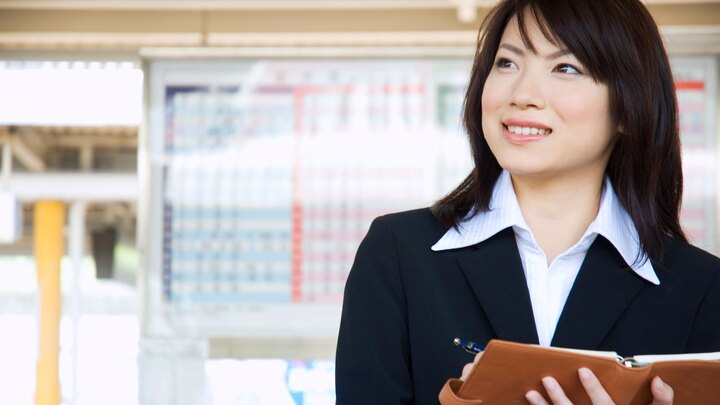 Businesswoman with schedule diary