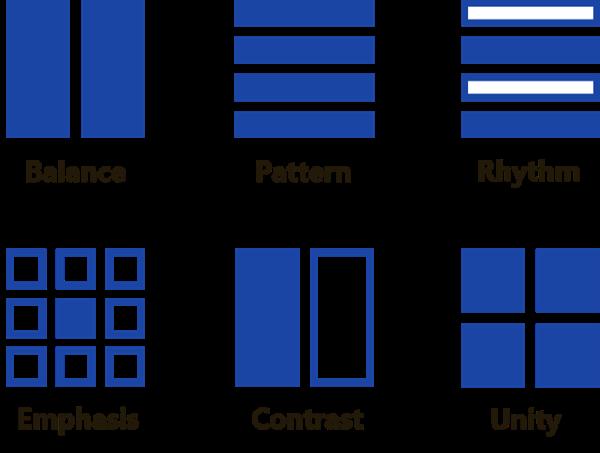 Image by Jordan showing Six Principles of Design: Balance, Pattern, Rythm, Emphasis, Contrast, Unity