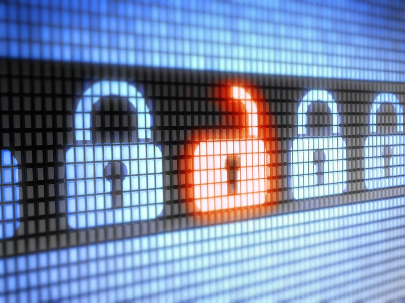 LED internet security lock and unlock symbols