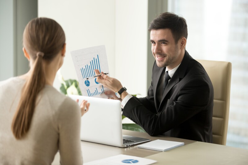 project manager holds report, shows successful strategy, business growth, company success concept