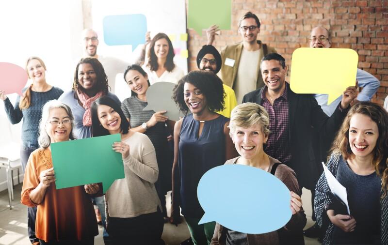 Diverse People Communication Speech Bubble Concept