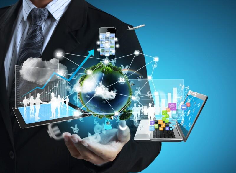 business man holding technology