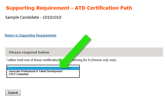 Supporting Requirements ATD Certification