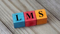 LMS (Learning Management System) acronym on colorful wooden cube