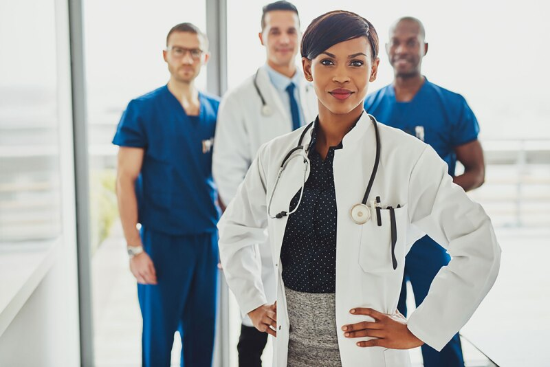 Black female doctor in charge at hospital