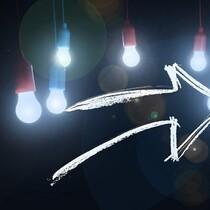 Business innovation arrow looking forward