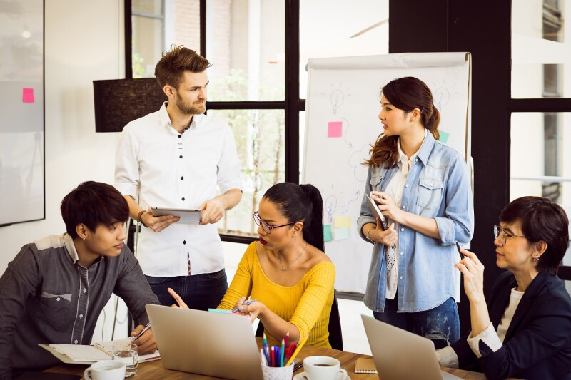 Multiethnic startup or teamwork concept