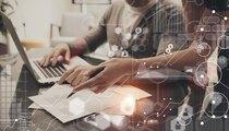 New Business Startup Presentation Process.Man Signing Charts Global Marketing Plan