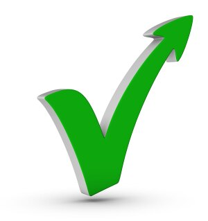 green check mark with arrow